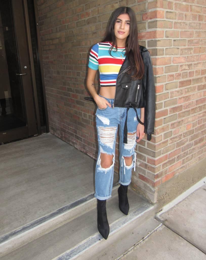 LEXI DREW Knee Cut Off Jeans