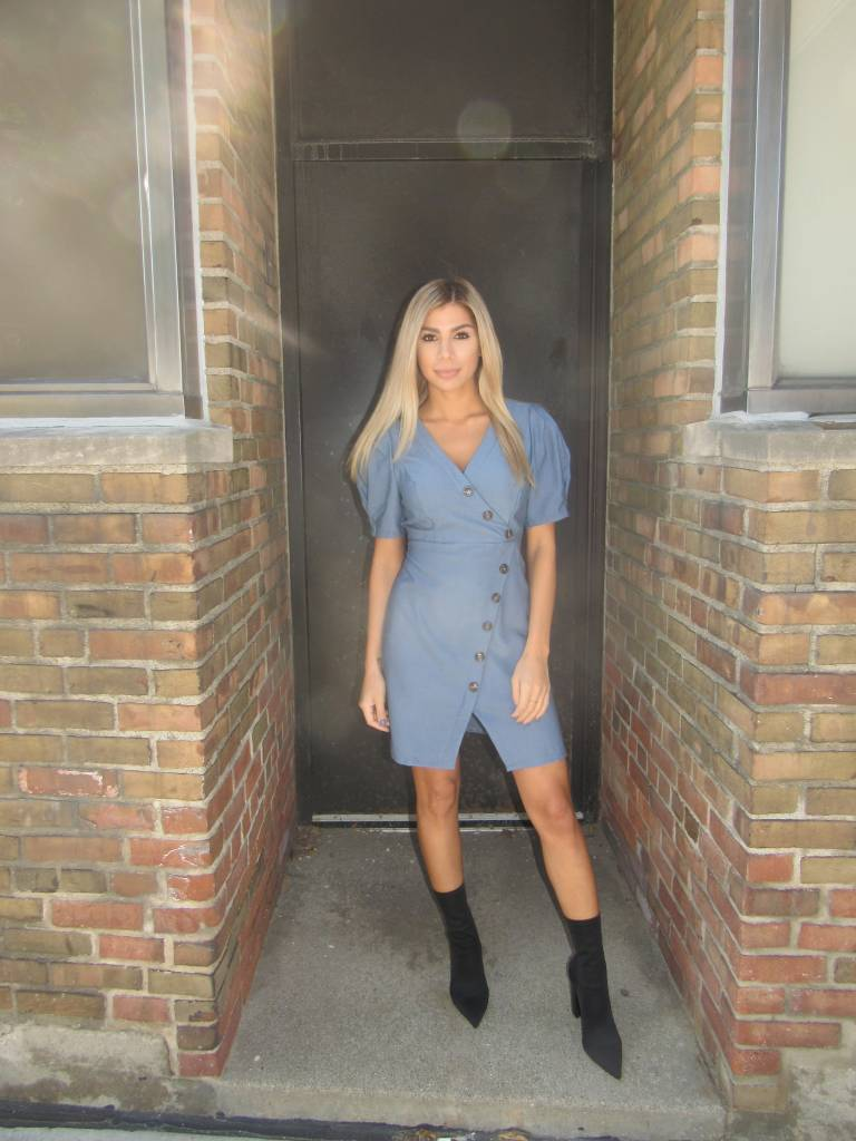 LEXI DREW Structured Blue Dress