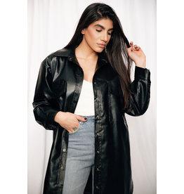LEXI DREW 8840 Leather Shirt Dress