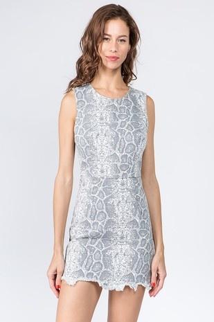 LEXI DREW 3257 Snake Denim Dress