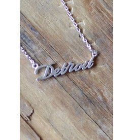 Detroit Script Necklace