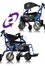 Drive Medical Drive Airgo Fusion F20 Blue Side-Folding Rollator & Transport Chair