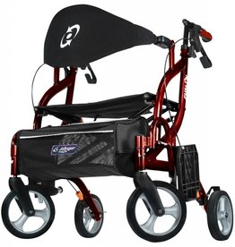 Drive Medical Drive Airgo Fusion F18 Red Side-Folding Rollator & Transport Chair