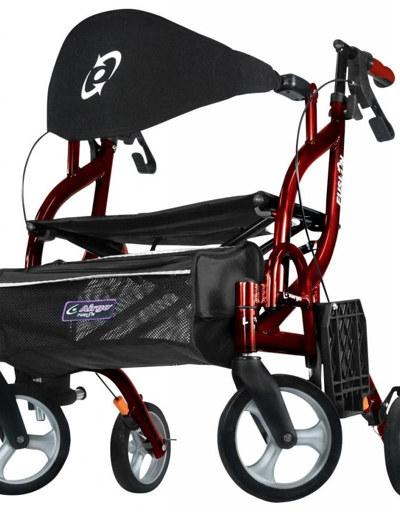 Drive Medical Drive Airgo Fusion F18 Side-Folding Rollator & Transport Chair Red