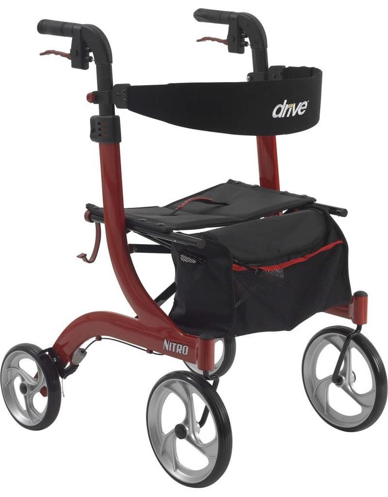 "Drive Medical Drive Nitro Rollator Red-10"" Caster w18.00"