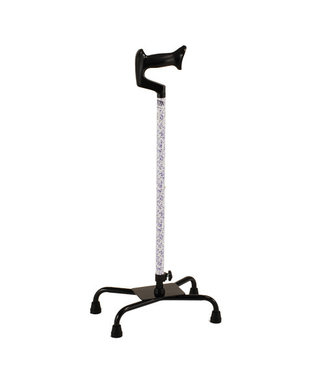 Nova Nova Quad Cane Large Base With Ortho Handle White With Blue Flowers