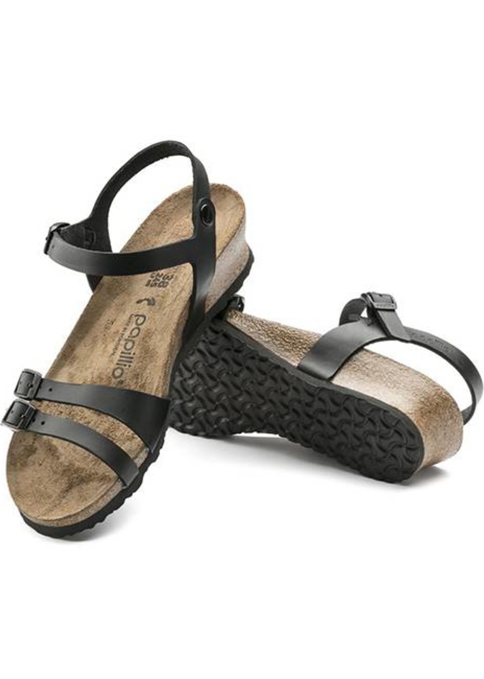 Birkenstock Lana - Natural Leather in Black (Papillio Wedge Heel)