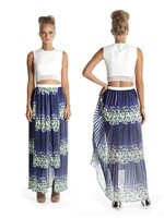 Elliatt Perspective Maxi Skirt - Ink/Apple
