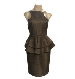Elliatt Silhouette Peplum Dress - Khaki