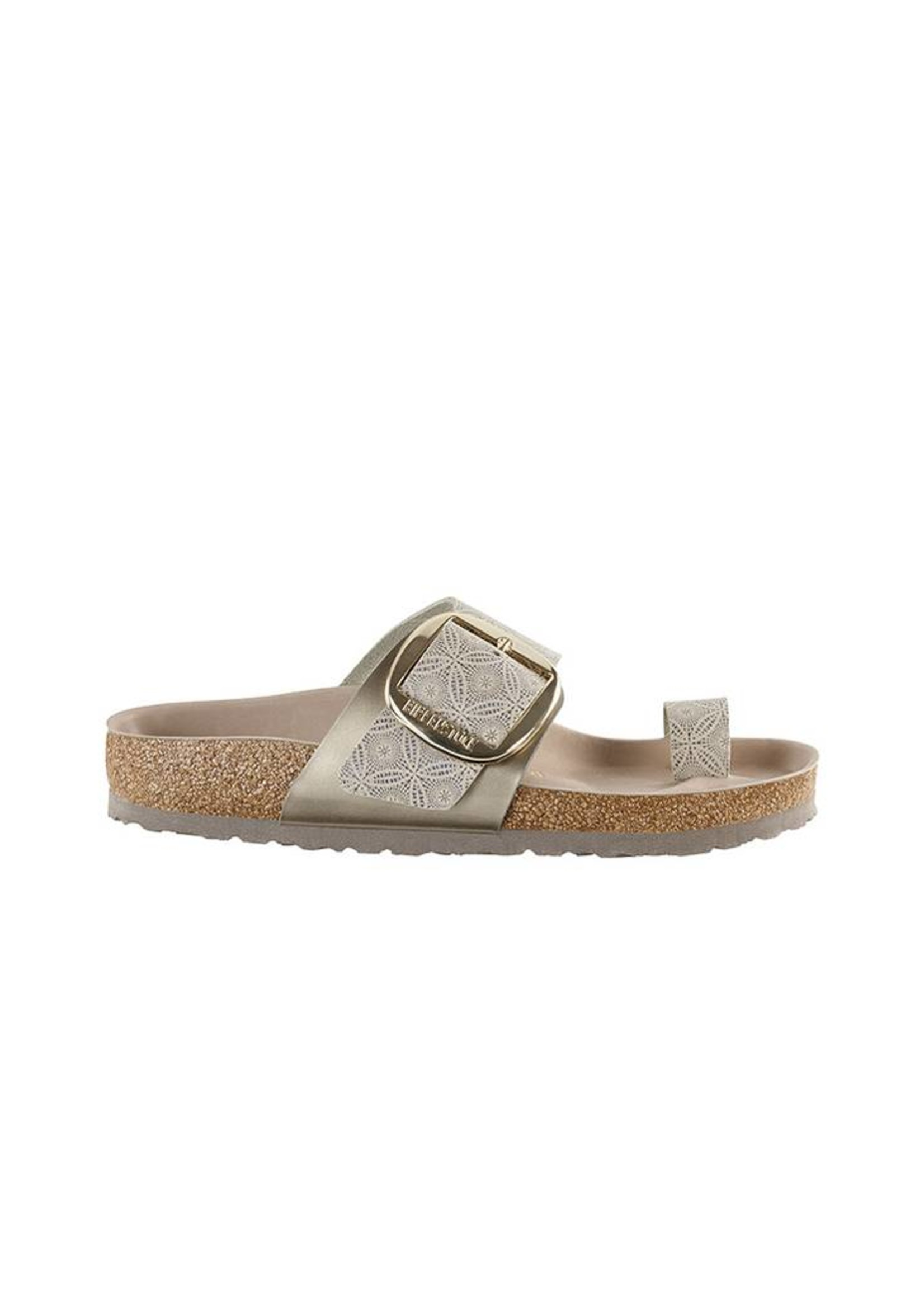 Birkenstock Miramar Big Buckle -  Natural Leather in Ceramic Pattern Blue (Premium Leather Footbed)