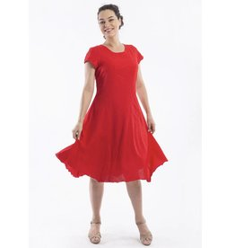 Orientique Linen Dress in Scarlet