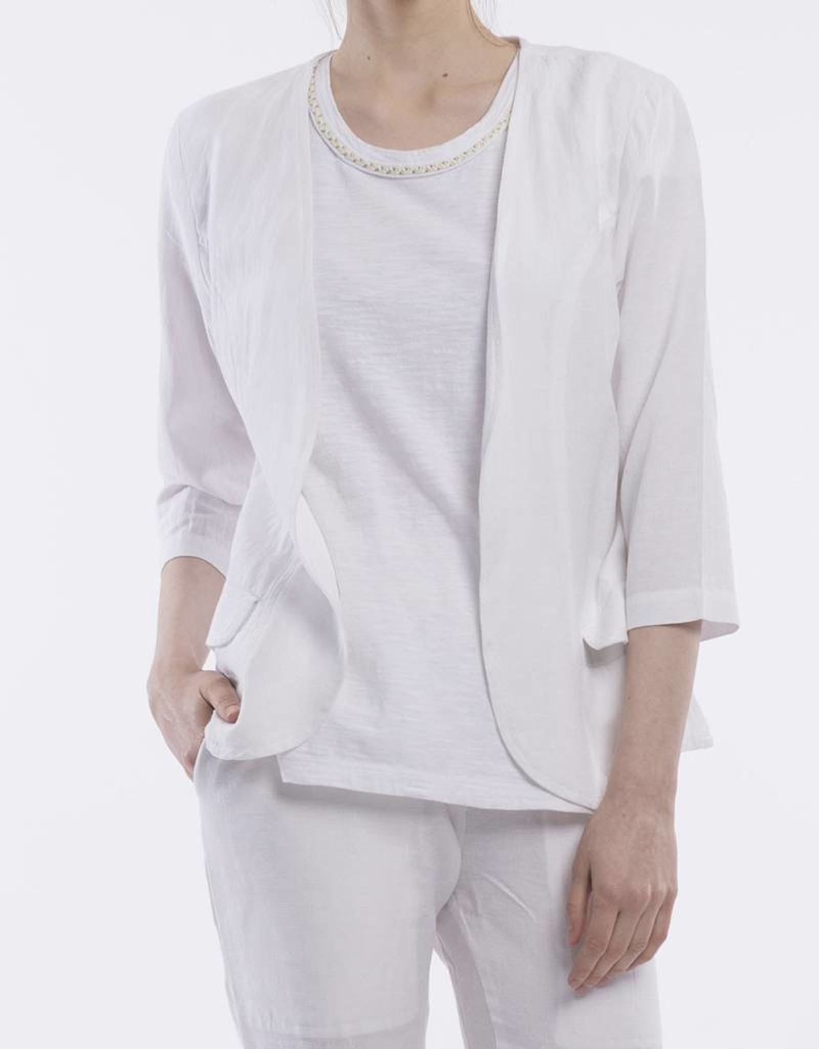 Orientique Linen Jacket in White
