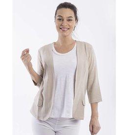 Orientique Linen Jacket in Pebble