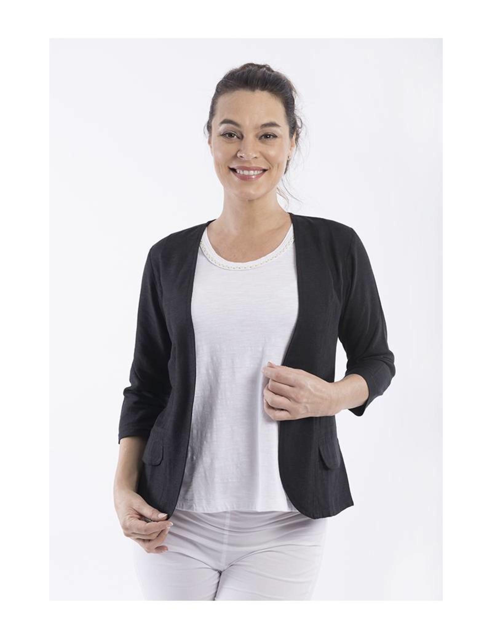 Orientique Linen Jacket in Black