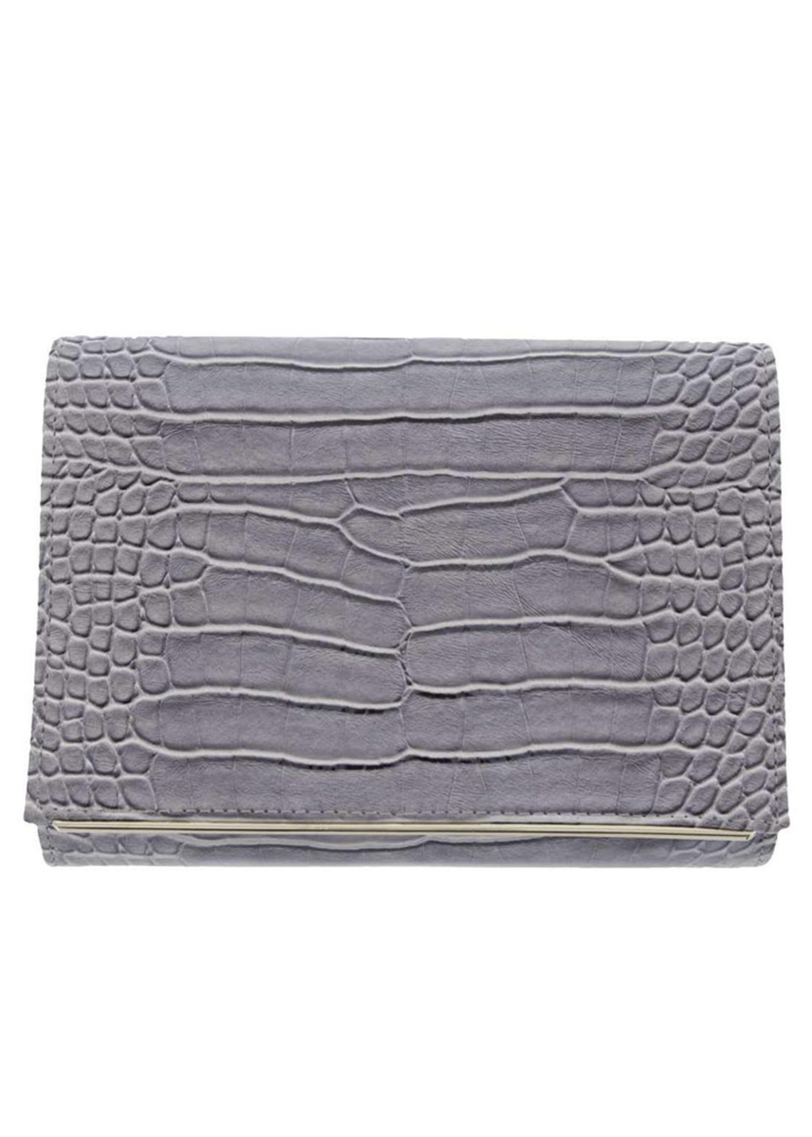 Gabee Products Nessa Croc Clutch - Grey