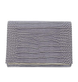 Gabee Products Nessa Croc Clutch - Grey
