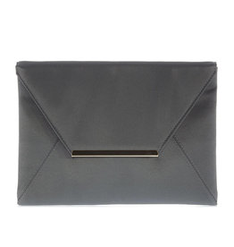 Gabee Products Amy Matt Satin Envelope Clutch - Steel