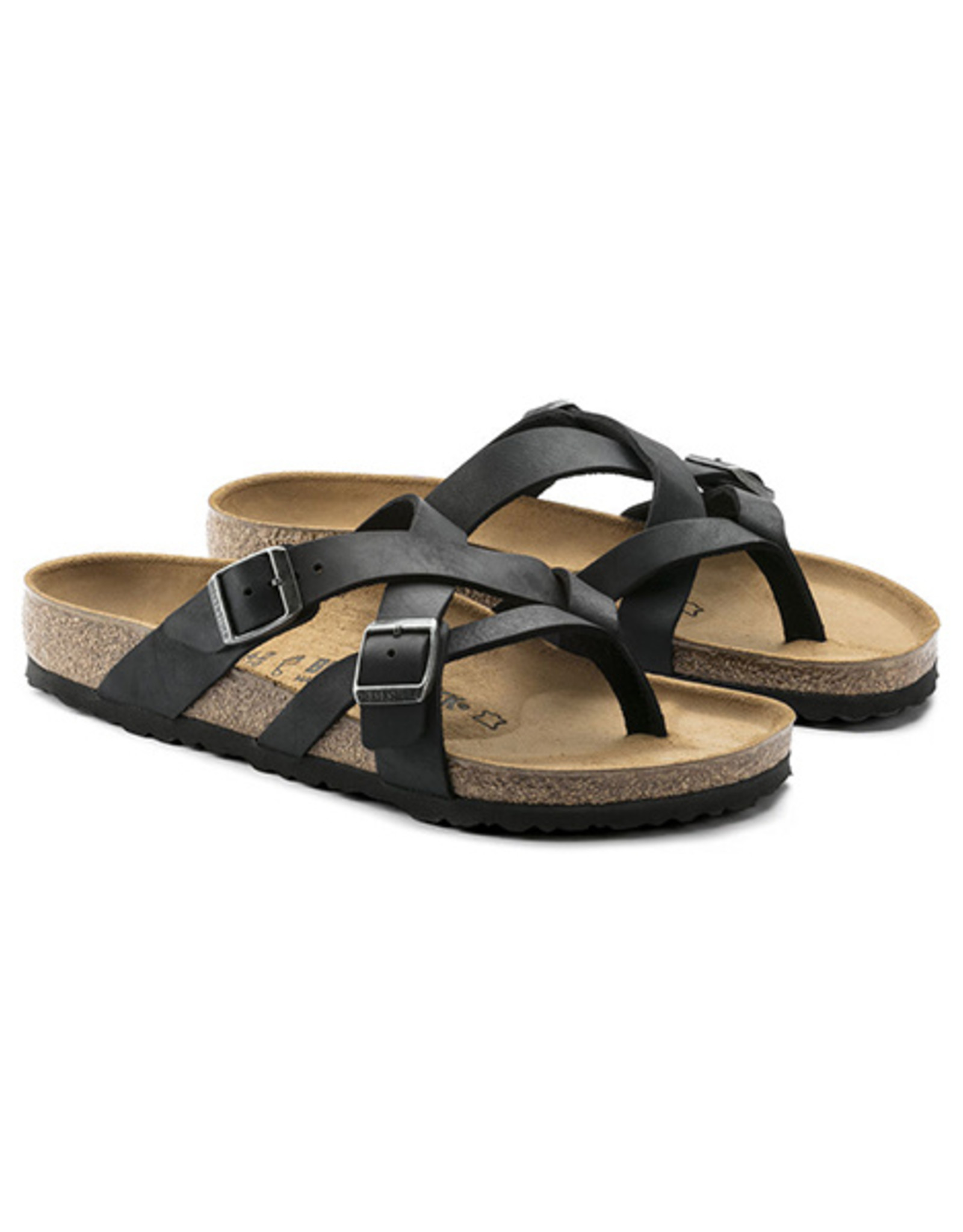 Birkenstock Temara -  Natural Leather in Camberra Old Black (Classic Footbed - Suede Lined)