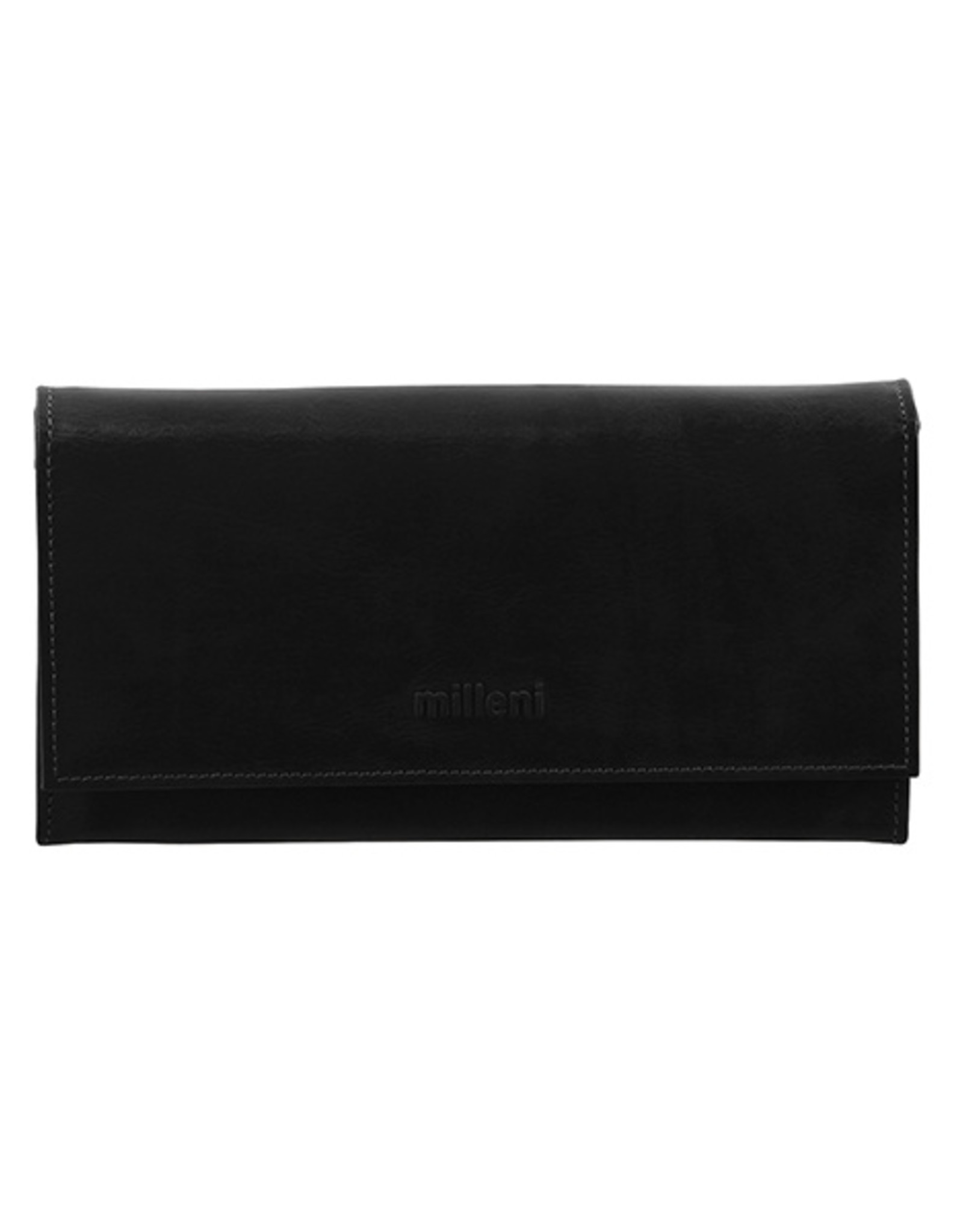 Milleni Leather Ladies Wallet - Black (C2886)