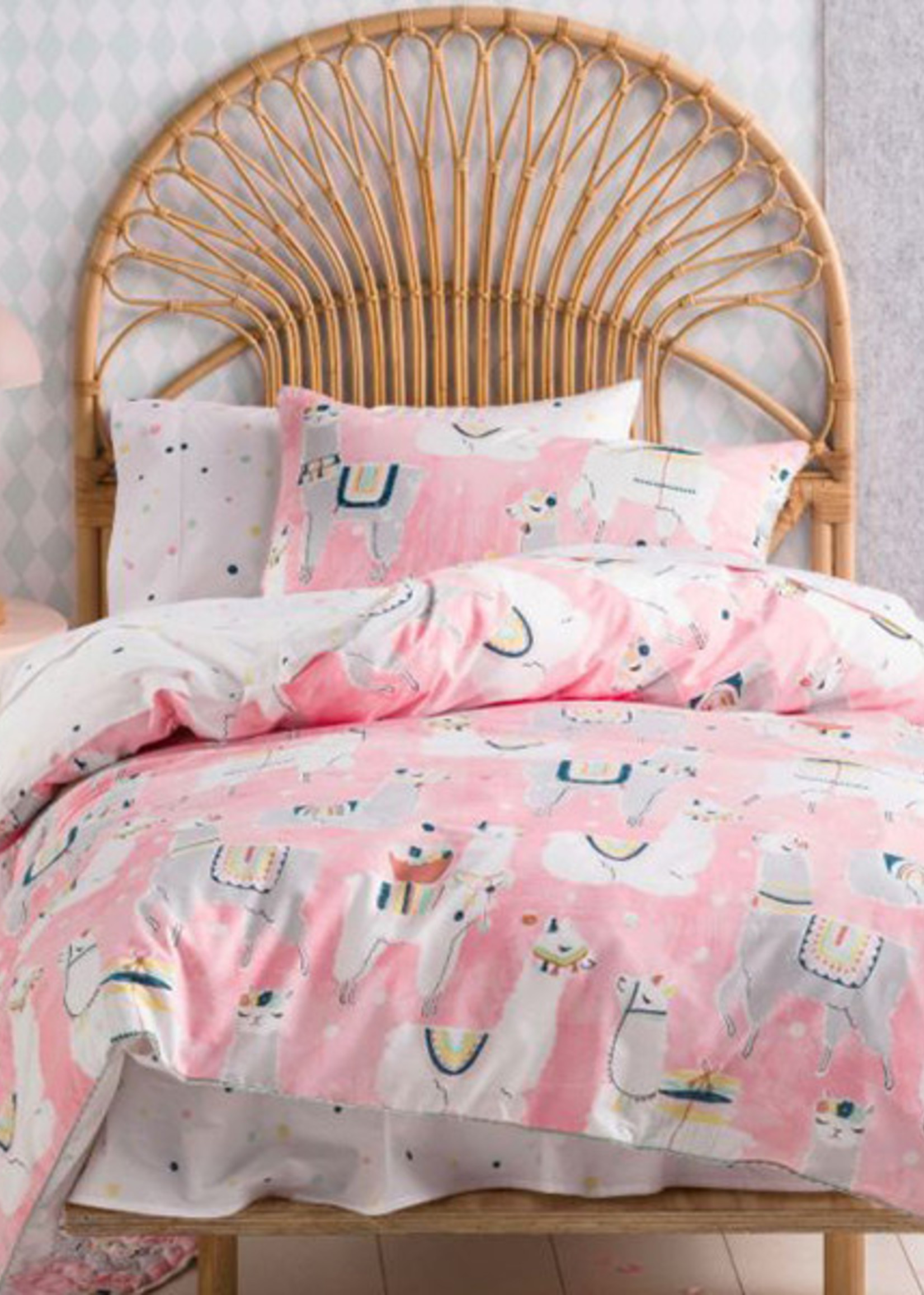 Linen House Hiccups SB S/Set Llama Party Pink