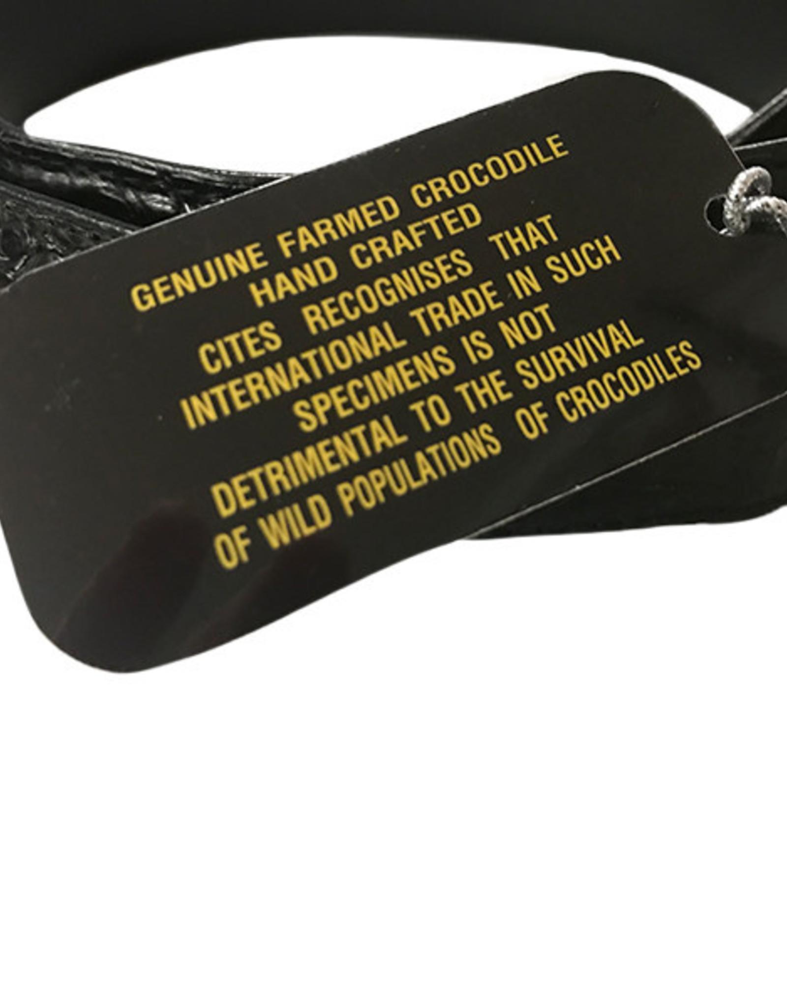 Crocodile & Stingray Products Crocodile Skin Belt - Black