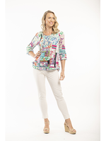 Orientique Zakynthos 3/4 Sleeve Top in Print