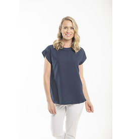 Orientique Essentials Linen Top in Navy