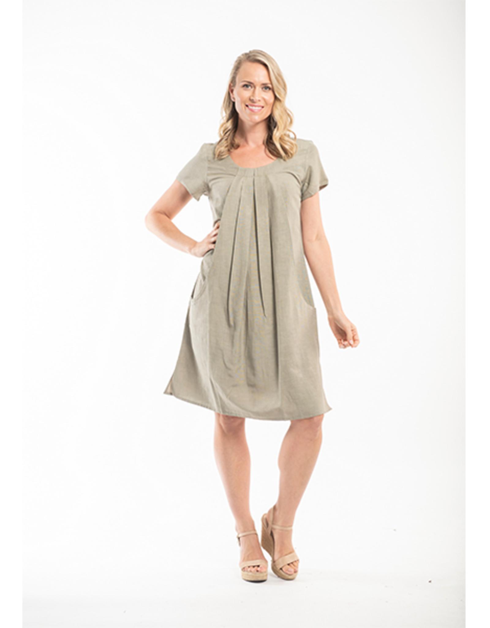 Orientique Essentials Linen Dress in Olive