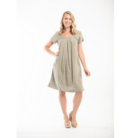 Orientique Essentials Linen Dress in Olive