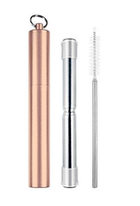 Avanti Homewares Telescopic Travel Straw Rose Gold