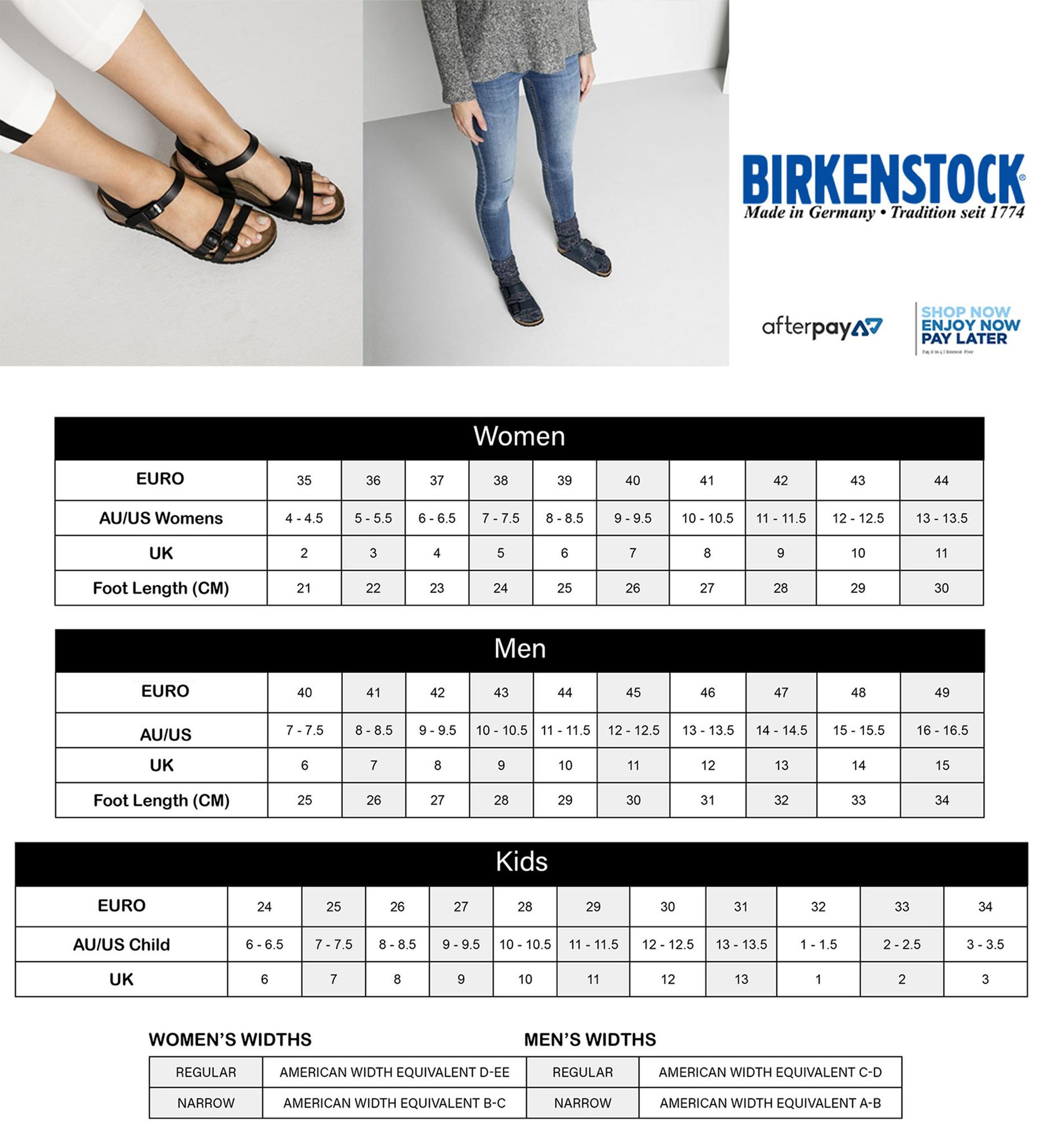 Birkenstock Size Chart