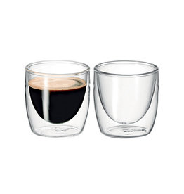 Avanti Homewares Twin Glass Wall Caffe 100ml Set 2