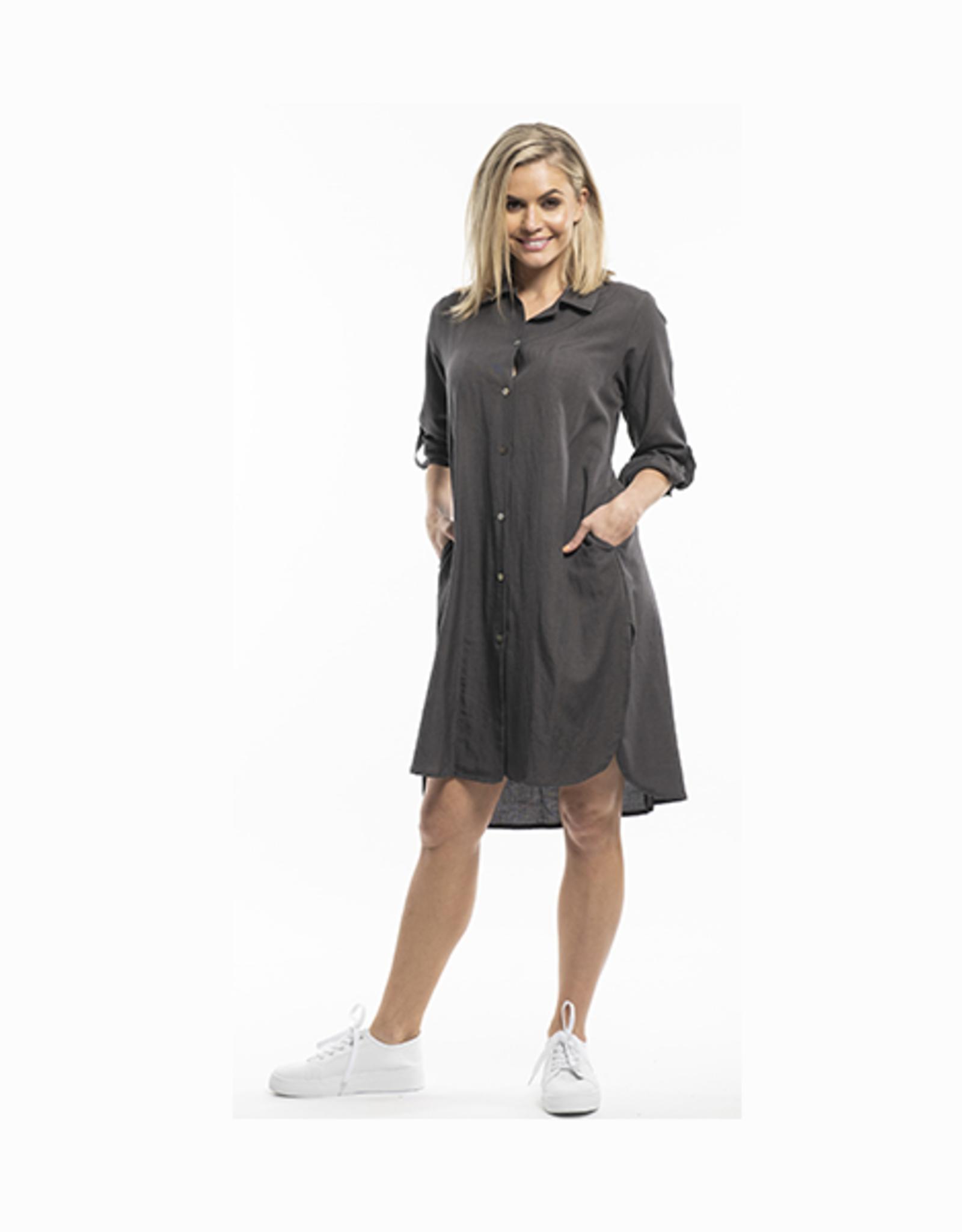 Orientique Essential Linen Dress in Grey 61373