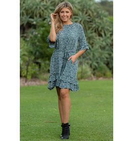 Cosmo Ruffle Dress in Sea Pine