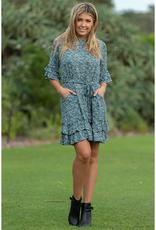 Cosmo Ruffle Dress in Sea Pine