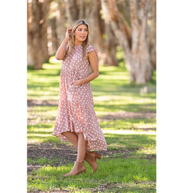 Darlee Tier Dress in Dusty Pink
