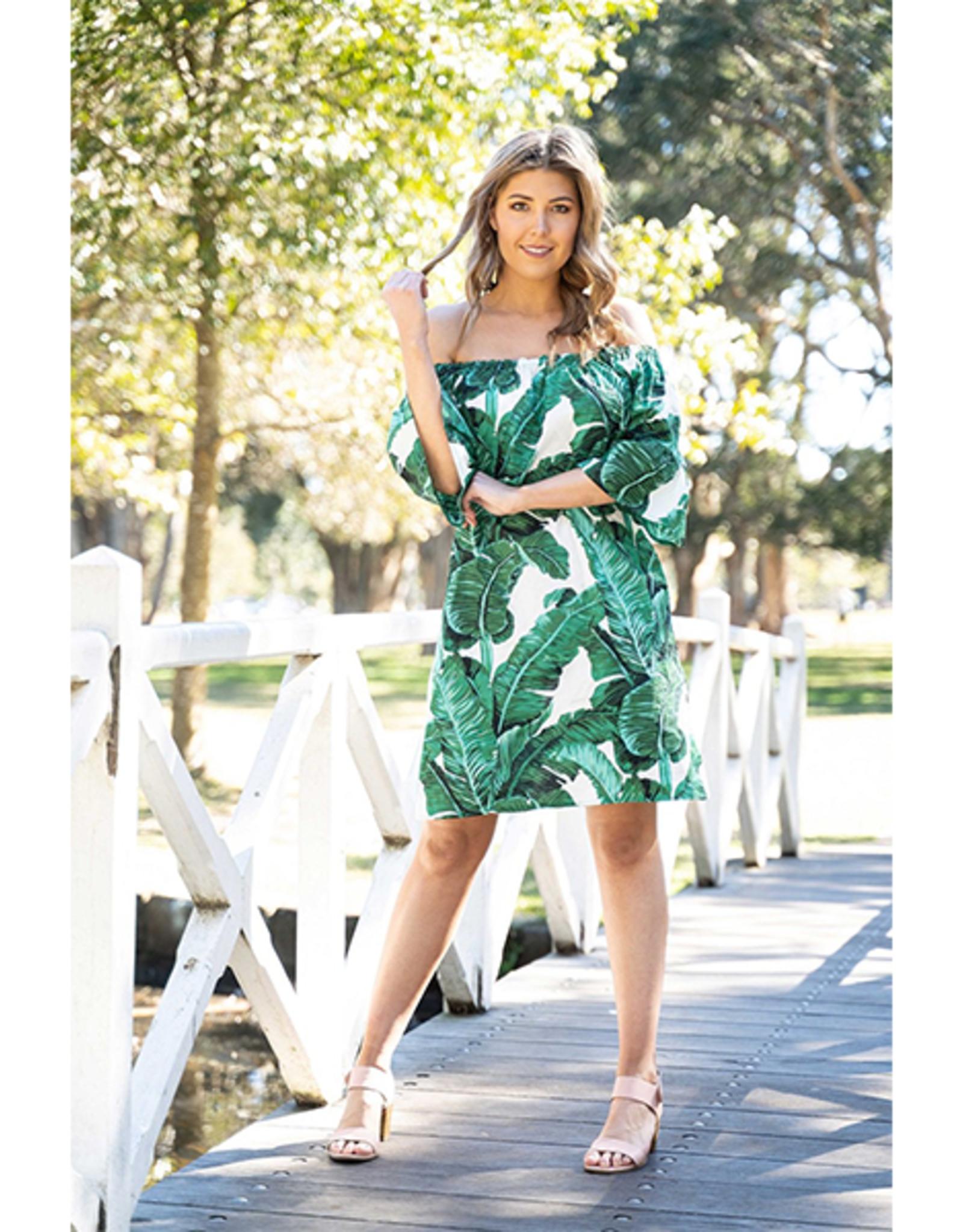 Kallie Off Shoulder Dress in Palm Print