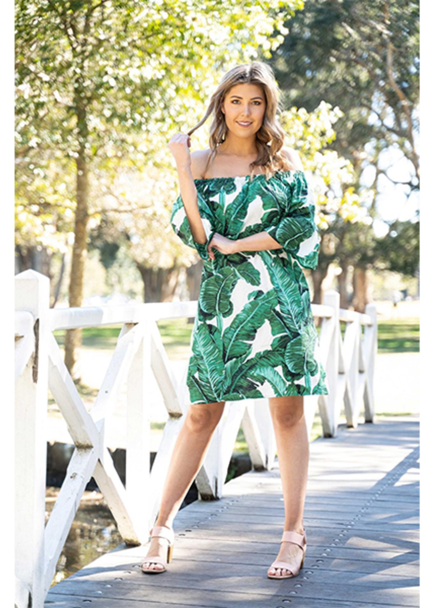 Boho Australia Kallie Off Shoulder Dress in Palm Print