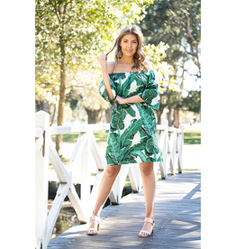 Boho Australia Kallie Off Shoulder Dress in Palm Print