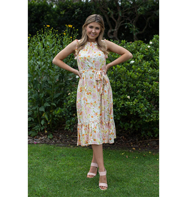 Golden Bloom Midi Dress in White