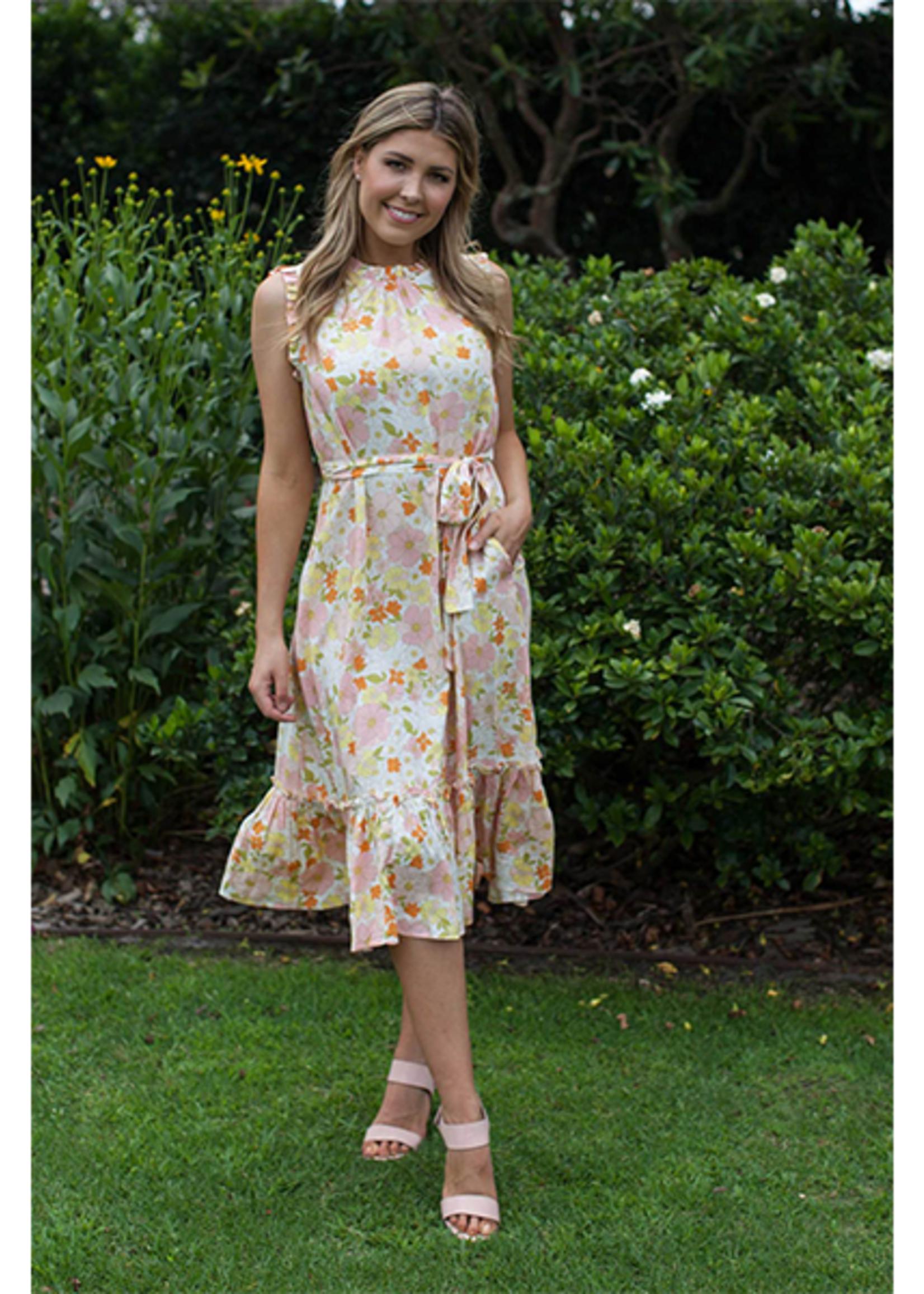 Boho Australia Golden Bloom Midi Dress in White