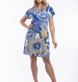 Orientique Seville Dress Short Sleeve Boat Neck