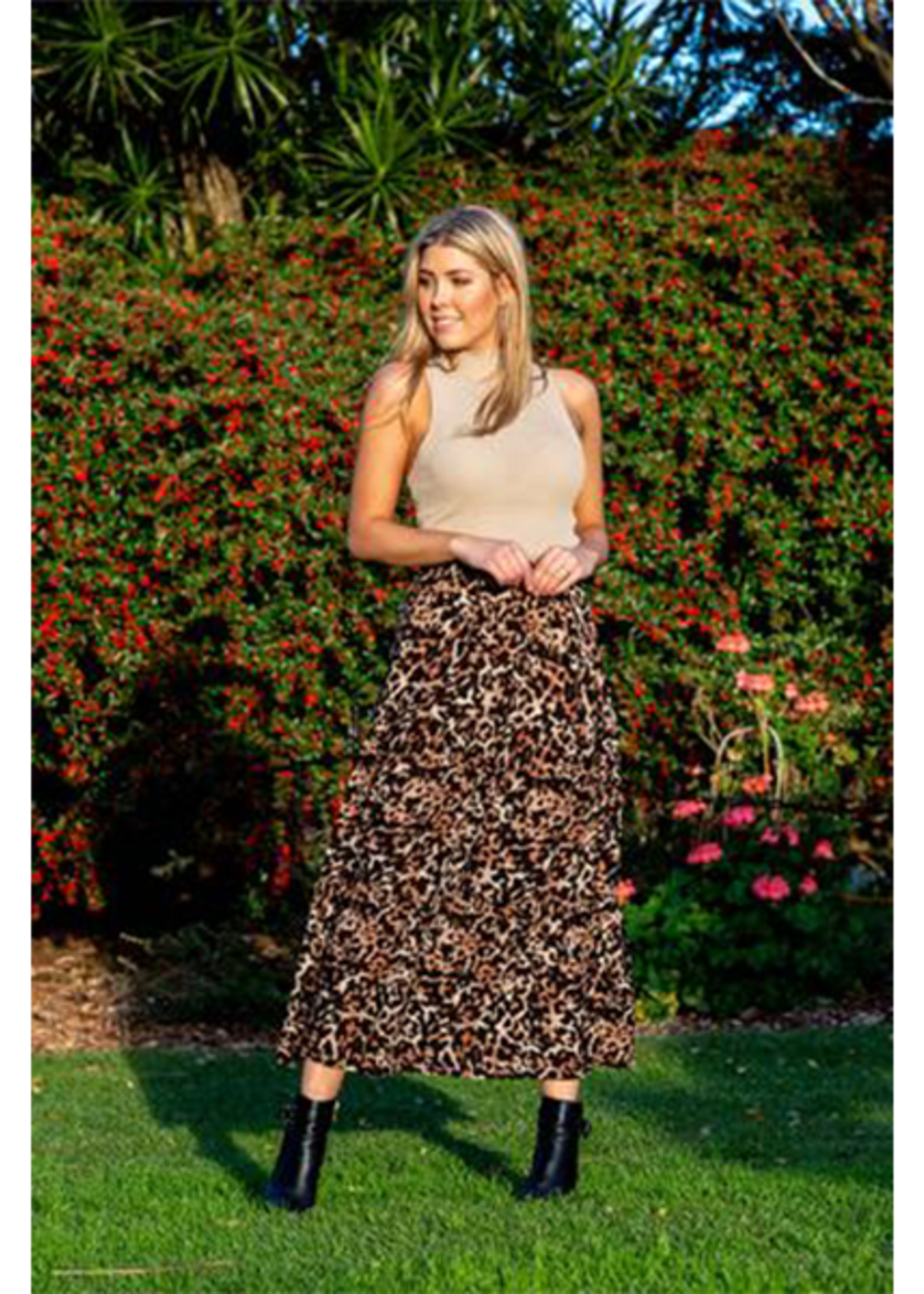 Boho Australia Oakes Tier Skirt in Brown