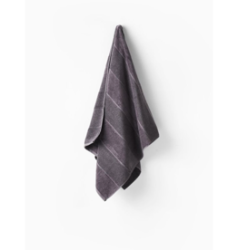 Linen House Bath Towel Velour Stripe Charcoal