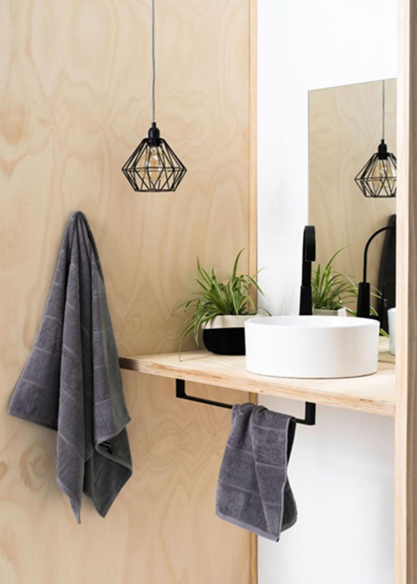 Linen House Bath Towel Velour Stripe Charcoal