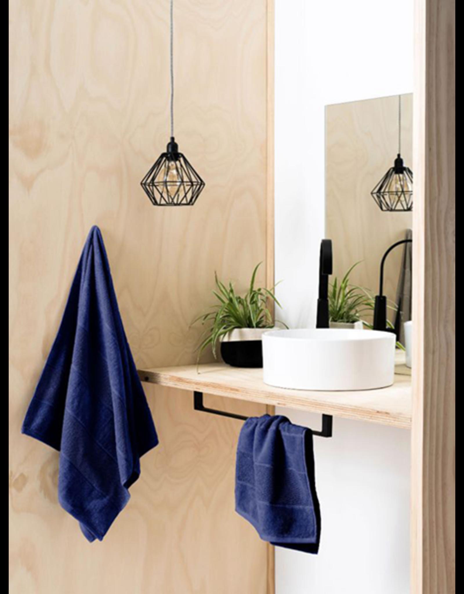 Linen House Bath Towel Velour Stripe in Navy