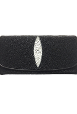 Crocodile & Stingray Products Stingray Leather Purse - Black