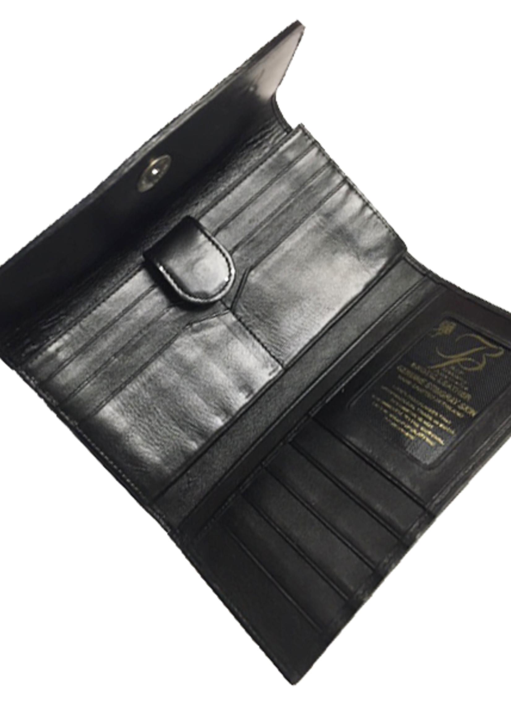 Crocodile & Stingray Products Stingray Leather Purse - Black