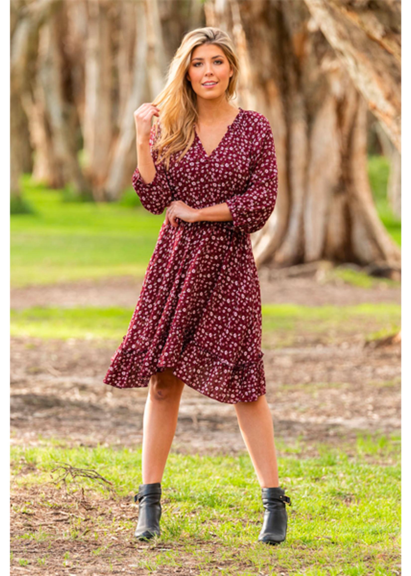 Boho Australia Mandy Dress in Wine
