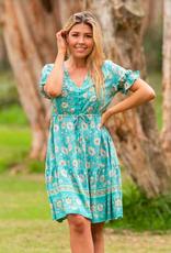 Boho Australia Silva Tier Dress in Green